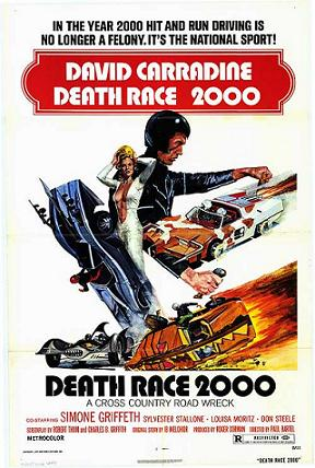 Movie poster for David Carradine film, Death Race 2000